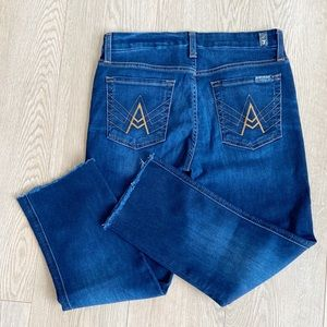 7 For All Mankind A Pocket High Rise Crop Raw Hem